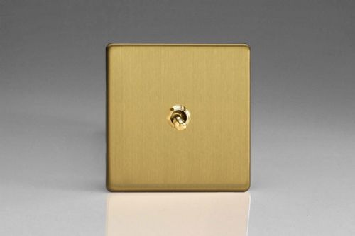 Varilight XEBT1S Euro Brushed Brass 1 Gang 10A 1 or 2 Way Toggle Light Switch